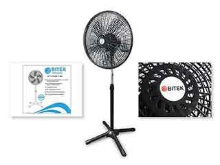 Вентилятор напольный BITEK 46см 40Вт 5 пласт. лоп. 2шт BT-1881