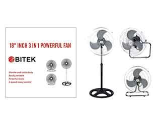 Вентилятор напольный BITEK 3 в 1 46см 40Вт 3 металл. лоп. 2шт BT-1882